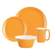 Rachael Ray Round and Square Dinnerware 4 Piece Place Setting Set; Yellow