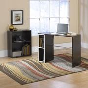 Sauder Treble Studio Edge Writing Desk with Bookcase; Twine and Cocoa Oak