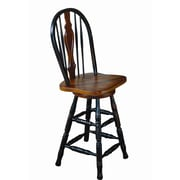 Sunset Trading Sunset Selections 24'' Swivel Bar Stool; Antique Black / Cherry