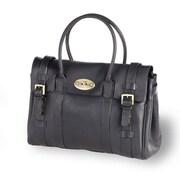 Clava Leather Turnlock Buckle Tote Bag; Black