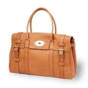 Clava Leather Turnlock Buckle Tote Bag; Tan