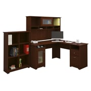 Bush Cabot L-Desk with Hutch and Bookcase; Harvest Cherry