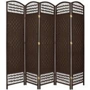 Oriental Furniture 67'' Tall Fiber Weave 5 Panel Room Divider; Dark Mocha