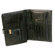 Bond Street Men's Leather Carry All Wallet and Organizer; Black