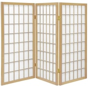 Oriental Furniture 60'' x 42'' Window Pane Shoji 3 Panel Room Divider; Natural