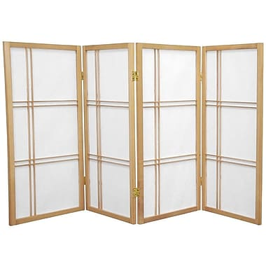 Oriental Furniture 35.75'' x 57'' Double Cross Shoji 4 Panel Room Divider; Natural
