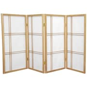 Oriental Furniture 35.75'' x 57'' Double Cross Shoji 4 Panel Room Divider; Natural