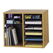 Safco Products Wood Adjustable-Compartment Literature Organizer (Desktop); Oak