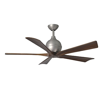 Matthews Fan Company 52'' Irene 5 Blade Ceiling Fan with Wall Remote; Brushed Nickel