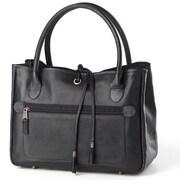 Clava Leather Tassel Tote Bag; Black