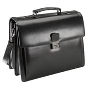 "Bugatti 17"" Smooth Genuine Leather Briefcase, Black"