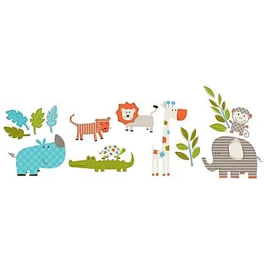 WallPops!MD – Trousse d'art mural, petite, Partons en safari, 30 autocollants