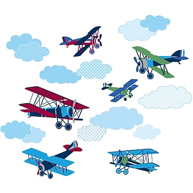 WALL POPS!® Large Wall Art Kit, Mighty Vintage Planes, 18 Stickers