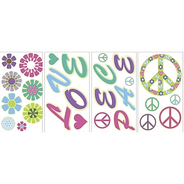 WALL POPS!® Glow in the Dark Wall, Peace, Love, Flowers, 27 Stickers