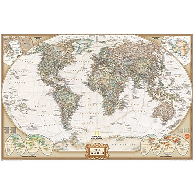 WallPops!MD – Carte du monde à effacement à sec National Geographic, 36 x 24 po