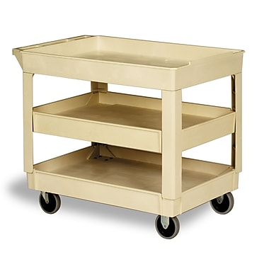 Continental Large Utility Cart, Open-Sides, 2 Shelves, Beige