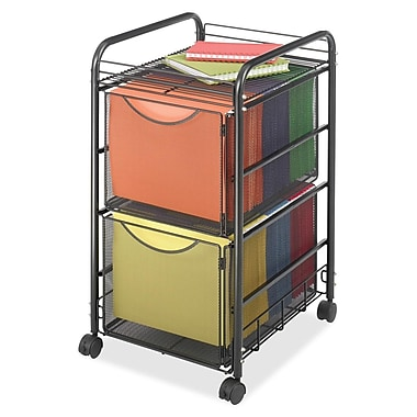 Safco® Mesh Mobile File Cart, Double File Drawers