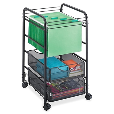 Safco® Mesh Mobile File Cart, Open File with Two Drawers