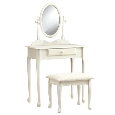 Monarch Antique 2 Piece Vanity Set, White