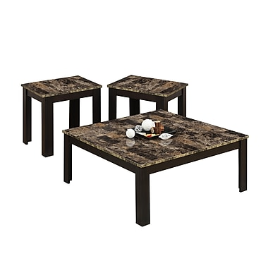 Monarch Marble Top 3 Piece Square Table Set, Cappuccino