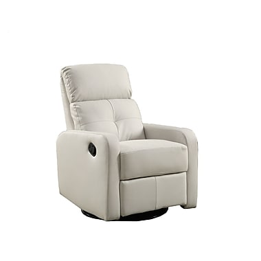 Monarch Leather Polyurethane, Wood & Foam Glider Recliner Chair White