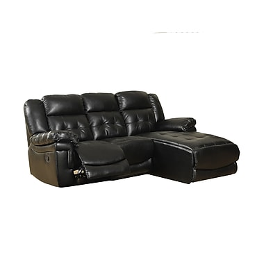 Monarch Bonded Leather/Match Reclining Sofa Black