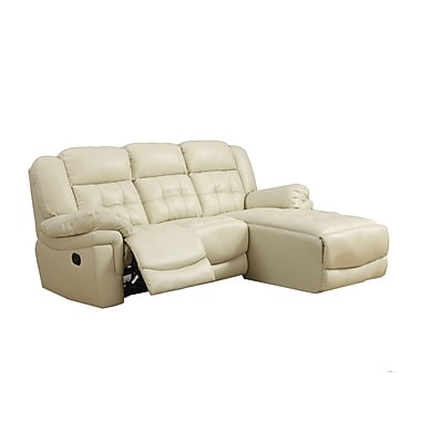 Monarch bonded leather match reclining sofa sand staples for Sand leather sofa