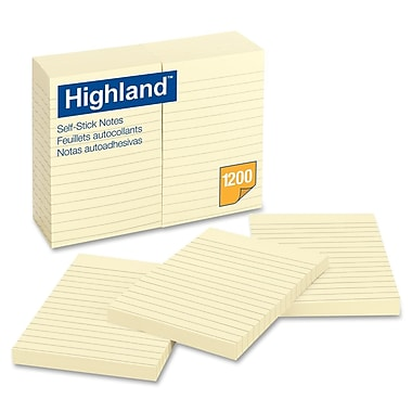Highland - Bloc-notes réglés auto-adhésives; 4 po x 6 po; paq./12