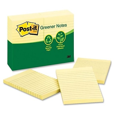 Post-it® Recycled Ruled Greener Notes, 4