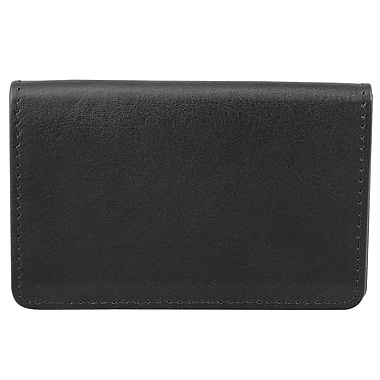 Bugatti Fine Milled Nappa Leather Personal Business Card Holder with Two Card Slots and Identity Block™, Black