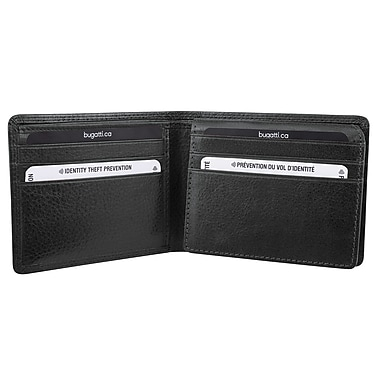 Bugatti Men's Milled Vegetable Tanned Leather Billfold Wallet with Identity Block™, Black
