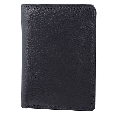 Bugatti Men's Milled Vegetable Tanned Leather Tri-Fold Wallet with Identity Block™, Black