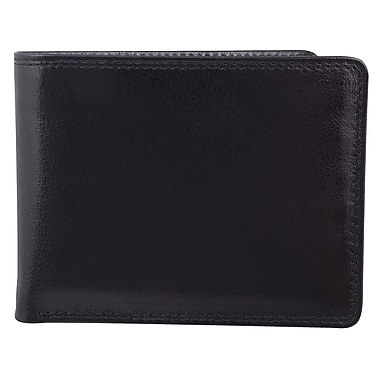 Bugatti Men's Milled Vegetable Tanned Leather Billfold Centre Wing Wallet with Identity Block™, Black