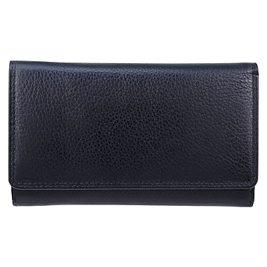 Bugatti Ladies Milled Vegetable Tanned Leather Trifold Wallet with Identity Block™, Black