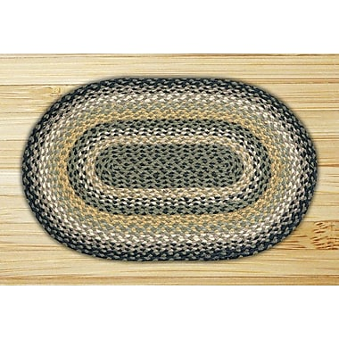 EarthRugs Black/Mustard/Creme Braided Area Rug; Oval 1'8'' x 2'6''