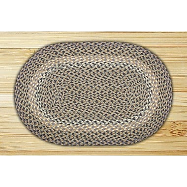 EarthRugs Blue/Natural Braided Area Rug; Oval 2'3'' x 3'9''