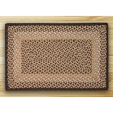 EarthRugs Chocolate/Natural Braided Area Rug; Runner Oval 2' x 8'