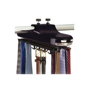 Richards Homewares Revolving Motorized Lighted Tie and Belt Rack Hooks Organizer; Black