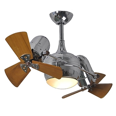Matthews Fan Company 41'' Dagny 6 Blade Dual Ceiling Fan with Wall Remote; Polished Chrome