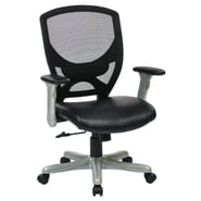 Office Star 41'' Woven Mesh Back Chair with Padded Flip Arms; Silver Accent/Black Seat Mesh