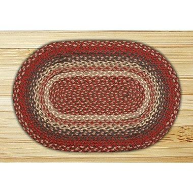 EarthRugs Burgundy Braided Area Rug; Oval 4' x 6'
