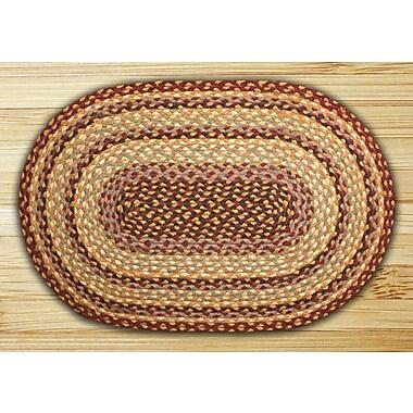 EarthRugs Burgundy/Gray/Cr me Braided Area Rug; Oval 1'8'' x 2'6''
