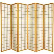 Oriental Furniture 70'' x 84'' Window Pane Shoji 6 Panel Room Divider; Honey