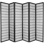 Oriental Furniture 70'' x 84'' Window Pane Shoji 6 Panel Room Divider; Black