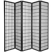 Oriental Furniture 70'' x 70'' Window Pane Shoji 5 Panel Room Divider; Black