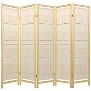 Oriental Furniture 72'' x 70'' Pockets Shoji 5 Panel Room Divider