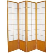 Oriental Furniture 70.25'' x 56'' Asian Zen 4 Panel Room Divider; Honey