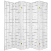 Oriental Furniture 70'' x 70'' Window Pane Shoji 5 Panel Room Divider; White