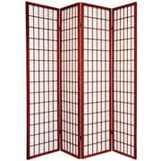 Oriental Furniture 70'' x 56'' Window Pane Shoji 4 Panel Room Divider; Rosewood