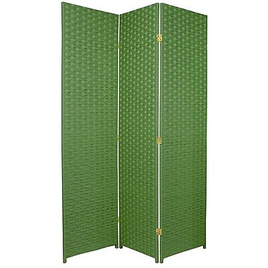 Oriental Furniture 70.75'' x 52.5'' 3 Panel Room Divider; Light Green
